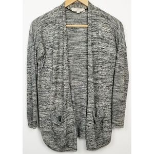 Loft open front sweater PS gray white marled